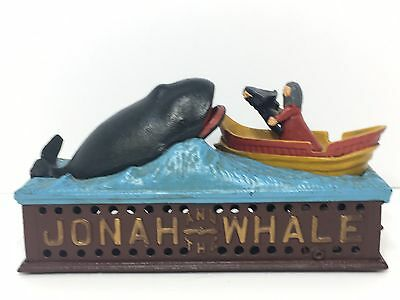 VINTAGE CAST IRON BANK Jonah And The Whale FIGURE The Book Of Knowledge