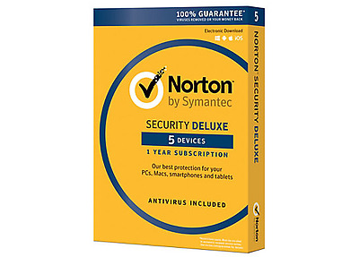 Norton Security Deluxe, For 5 Devices, 1-Year Subscription, Download Version