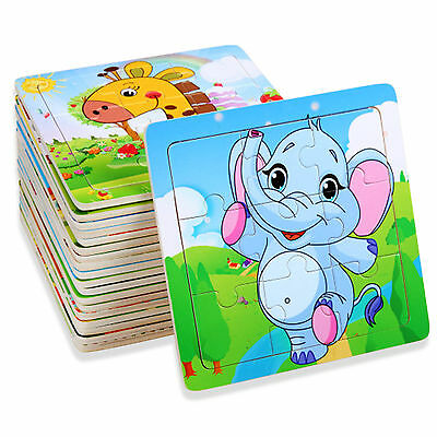 Wooden Puzzle Jigsaw Cartoon Animals Baby Kids Educational Learning Tool Toy