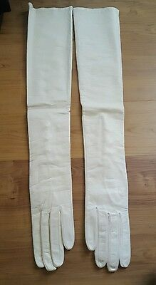 Vintage  Ivory Leather Silk Lined Long Opera Gloves Pearl Buttons sz. 7.5 NWOT