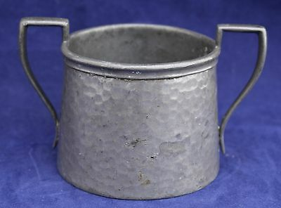 "Hammered Pewter Sugar Bowl - Stamped ""Craftsman Pewter Sheffield"""