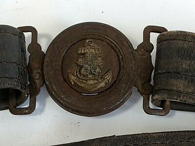 World War 2 WWII Japanese Military Imperial Navy Soldier's buckle Belt-E-