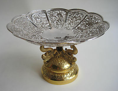 Antique Chinese Export Silver Pierced Gilded Dragon Bowl