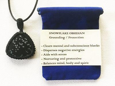 Snowflake Obsidian Pendant Crystal Gemstone Necklace, Adjustable Cord, Pouch