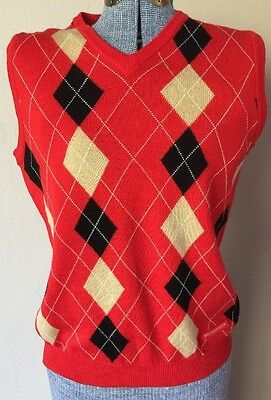 Authentic BURBERRY GOLF Argyle Diamond Sweater Vest Womans Red Size Small