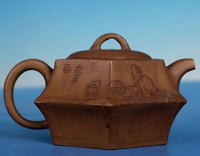 Antique China Yixing Zisha Teapot Hand Carving Purple Sand Teapots Marks PT256