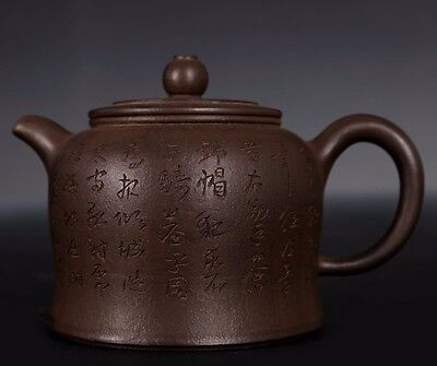 Superb Chinese Pottery Hand Carving Old Zisha Teapot Purple Sand Teapots PT279