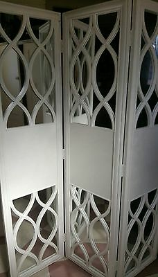 Classic Hamptons Style, White 3 Panel Carved Wood & Mirror Room Divider/Screen