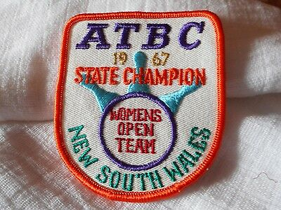 Vintage Atbc 1967 State Champion Womens Open Team Nsw Ten Pin Bowling Patch