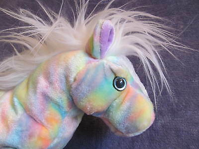 """New TY OPAL Classic RAINBOW HORSE Plush 2003 13"""" Retired EASTER Pastel MWMT NWT"""