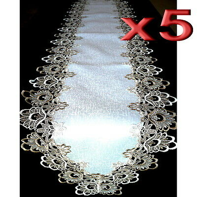 5pc Wholesale Handmade Lace Table Runner Vintage Brown and White 42x180cm