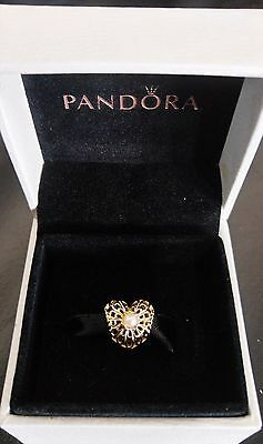 New Authentic Genuine Pandora Gold 14ct & Pearl Openwork Heart Charm 750822P