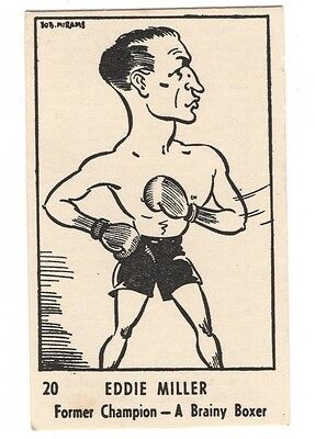Rare 1950 Bob Mirams Sports Caricatures Trading Cards, Eddie Miller
