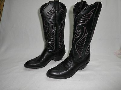 Women size 7M Laredo cowboy western black leather cowgirl  boots