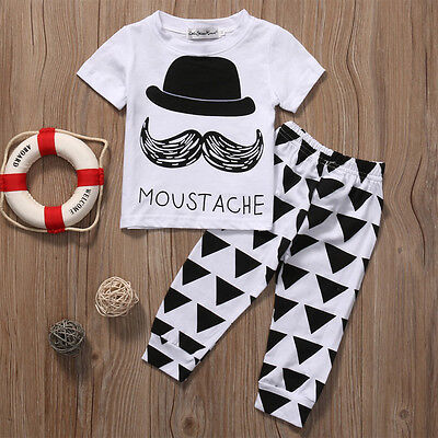 Newborn Infant Toddler Kids Baby Boys Outfits T-shirt Tops+Pants Clothes USA