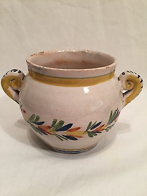 Vintage Faience Quimper Style Two Handled Pot