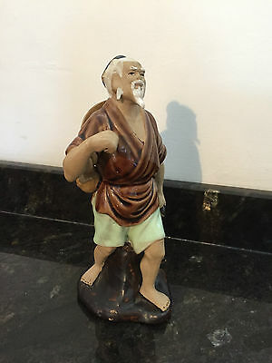 Chinese Mud Man Fisherman Figurine