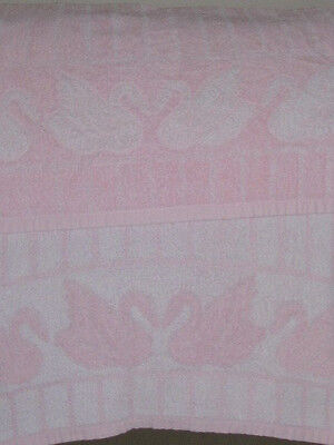 2 Vintage Bathroom TOWELS Striped Pink Swan Print REVERSIBLE