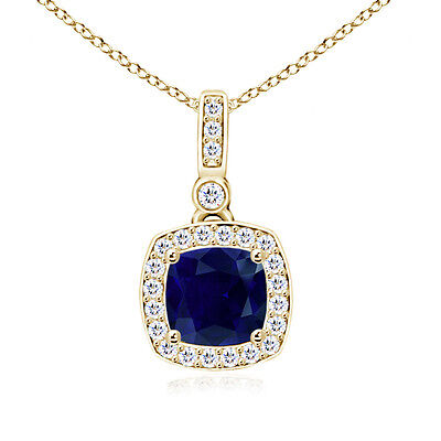"Natural Cushion Sapphire Necklace Pendant Diamond Halo 14K Yellow Gold 18"" Chain"