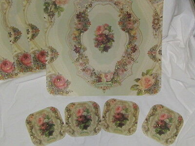 4 Michal Negrin Placemats w/ 4 COASTERS VINATGE Style Table Setting