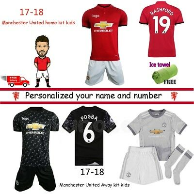 17/18 Football Kits Soccer Kids Team Suit Short Sleeve Jersey Kit 3-14 Yrs Socks