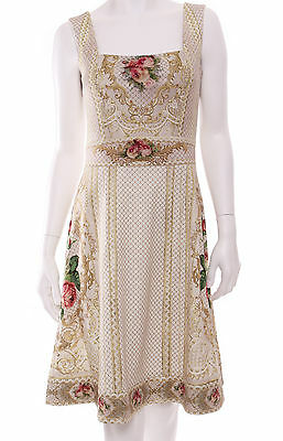 Michal Negrin Off White Ivory Victorian Antique Style Roses Flower Crystal Dress