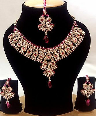 Indian Bollywood Ethnic Kundan Jewelry Set Necklace and Earrings Gold Plated.