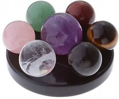 Seven Star Group Natural Amethyst Chakra Crystal Sphere Ball Obsidian Stand