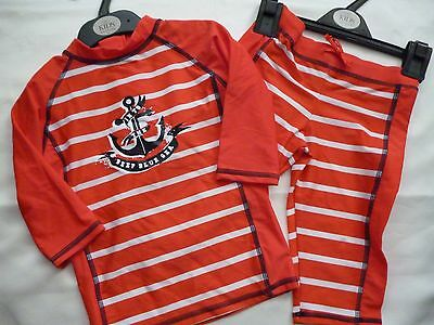 "M&S Boys Safe In The Sun "" Part Set Red/White Stripe 18-24 Months"