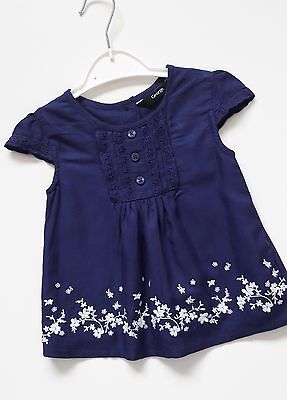 Baby Girls 100% Cotton Navy Blue Top 12-18 Months GEORGE