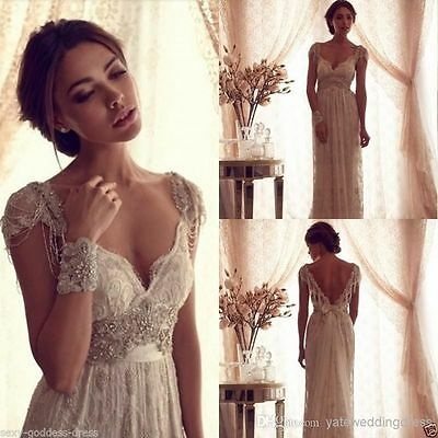 Vintage Beaded White Ivory Lace Beach Bridal Gown Wedding Dress Size 4