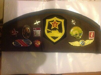 russian soviet army hat with 22 badges