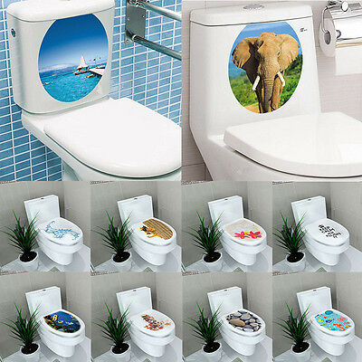 DIY 3D Toilet Seat Wall Sticker Vinyl Art Removable Bathroom Decals Home Decor