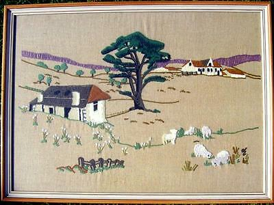 Very large framed tapestry of a farm scene
