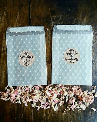 Embossed Wedding Confetti Glassine Bags & stickers- Sprinkle the love throw bag