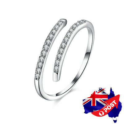 New 925 Sterling Silver Simple Crystal Wedding Engagement Band Ring Adjustable