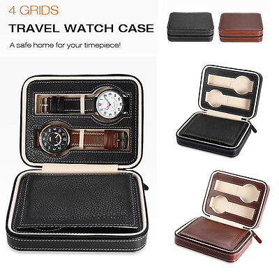 4 Grids Travel Watch Box Superior PU Leather Storage Case Display Organizer Gift
