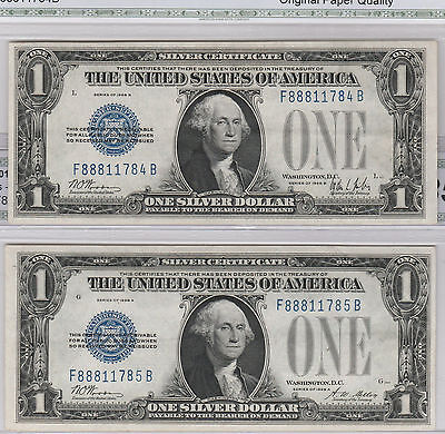 1928-B/A $1 Silver Certificate Reverse Change Over Pair--Funnybacks, ships ins.