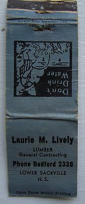 Antique Matchbook Cover Laurie Lively Lumber Lower Sackville Nova Scotia