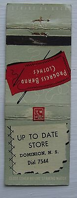 Antique Matchbook Cover Up To Date Store Dominion Clothing  Nova Scotia