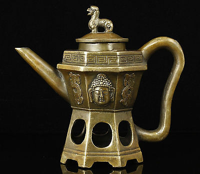 Asia Old Handwork Carving Buddha Head Bronze Buddhism Teapot