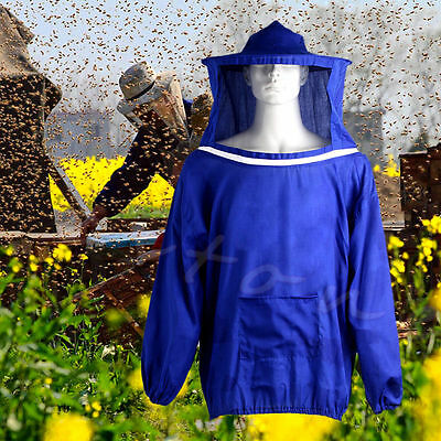 Beekeeping Jacket Veil Bee Keeping Suit Hat Smock Protective Equipment Blue