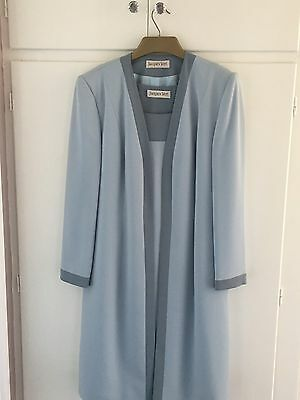 Jaques Vert Mother Of The Bride Wedding Dress Jacket Hat Blue Outfit 14