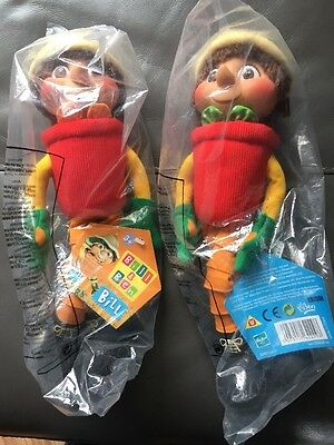 Bill and Ben The Flower Pot Men + Tags Soft plush BBC 2000 14 inch MIB Sealed
