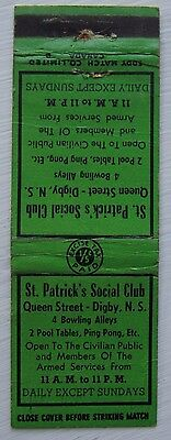 Antique Matchbook Cover St Patrick's Social Club  Digby Nova Scotia