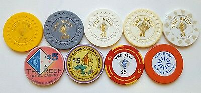 The Reef Casino Chips -  Cairns QLD Australia Gaming Poker roulette tokens