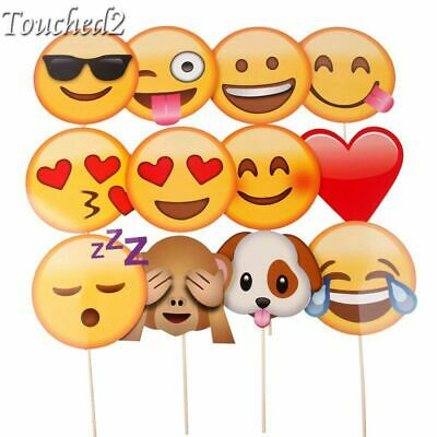 12Pc Emoji Photo Booth Props Funny Mask Birthday Party Decor Kids Favor Wedding