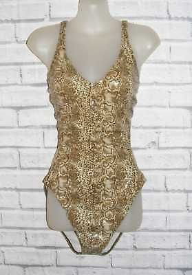 Size 16 vintage 90s swimming costume cutaway sides shiny brown snakeprint (IA32)