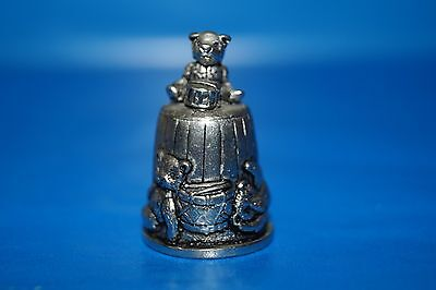 PEWTER THIMBLE - Teddy bear and toys