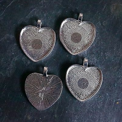 10  X 25Mm Heart Shaped Silver Plated Pendant Trays